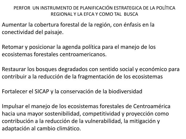PERFOR  UN INSTRUMENTO DE PLANIFICACIÓN ESTRATEGICA DE LA POLÍTICA REGIONAL Y LA EFCA Y COMO TAL  BUSCA