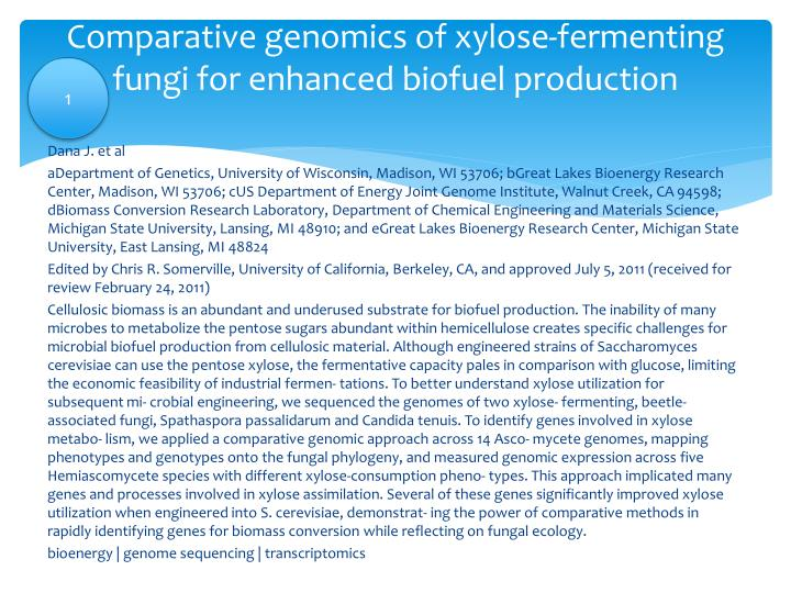 Comparative genomics of xylose-fermenting fungi for enhanced biofuel production