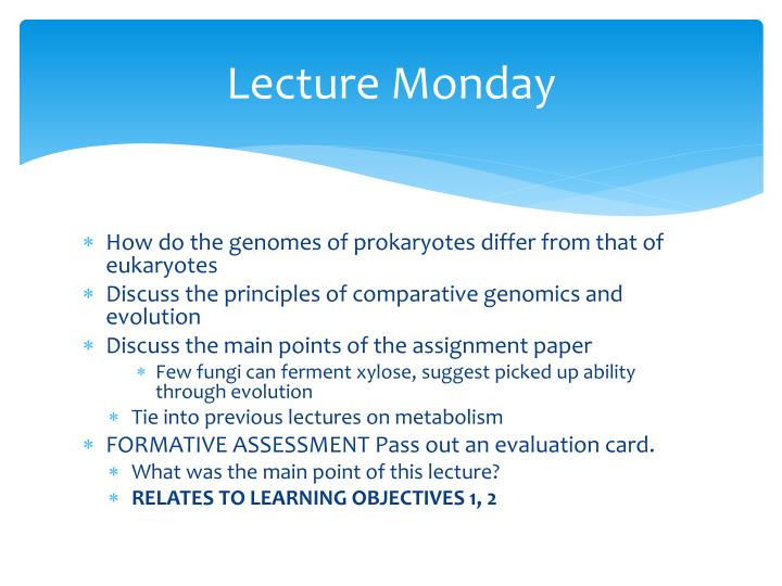 Lecture Monday