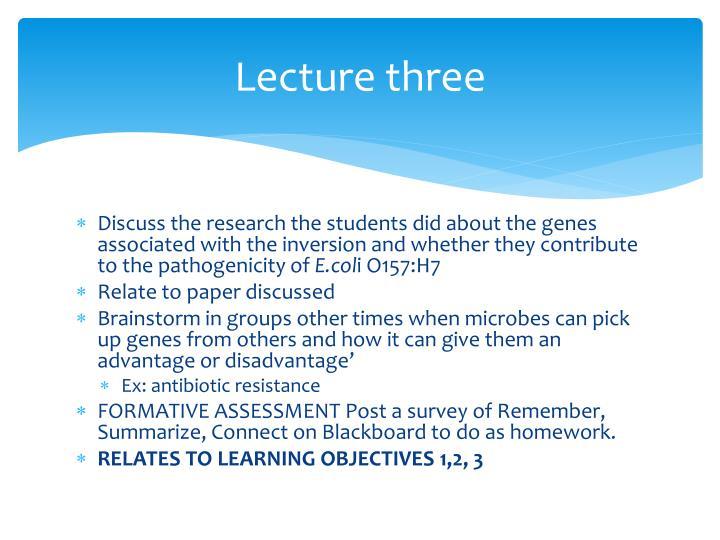 Lecture three