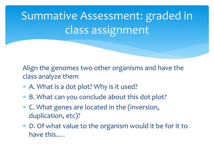 Summative Assessment: graded in class assignment