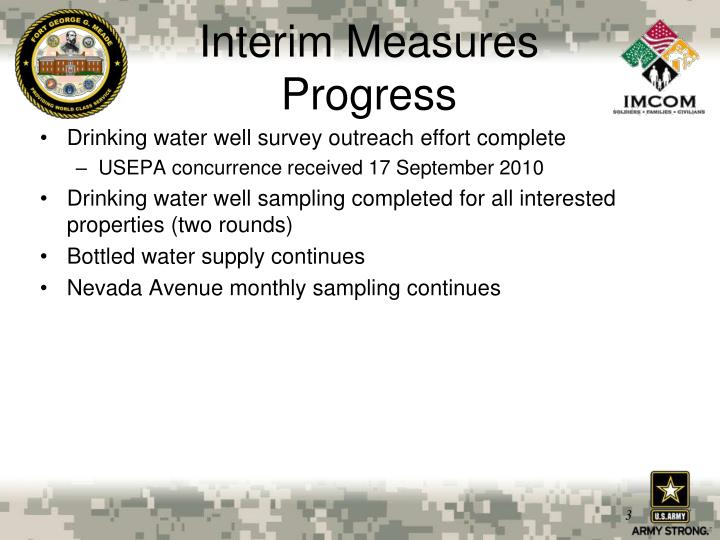 Interim measures progress