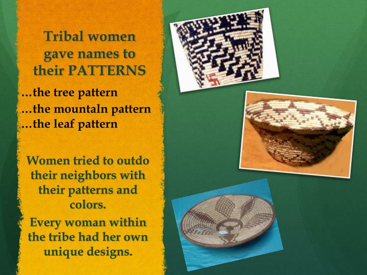 Tribal women gave names to their PATTERNS