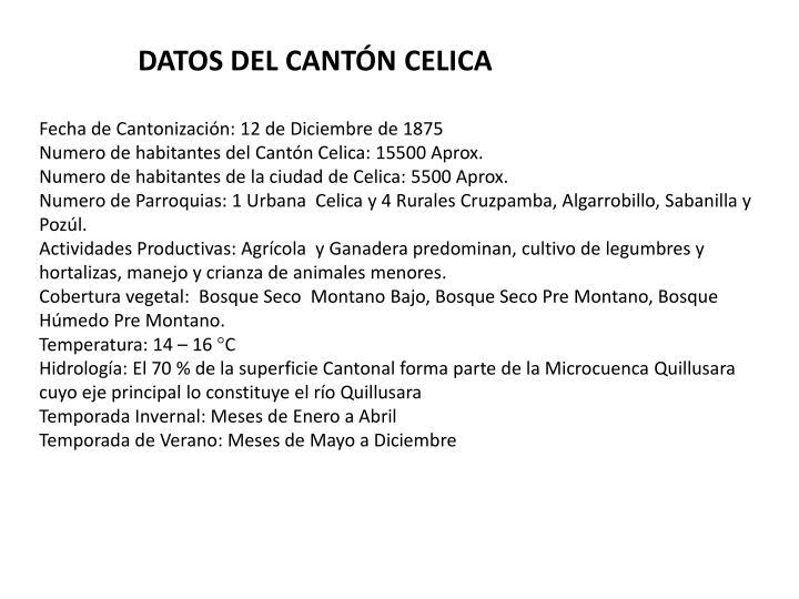 DATOS DEL CANTÓN CELICA