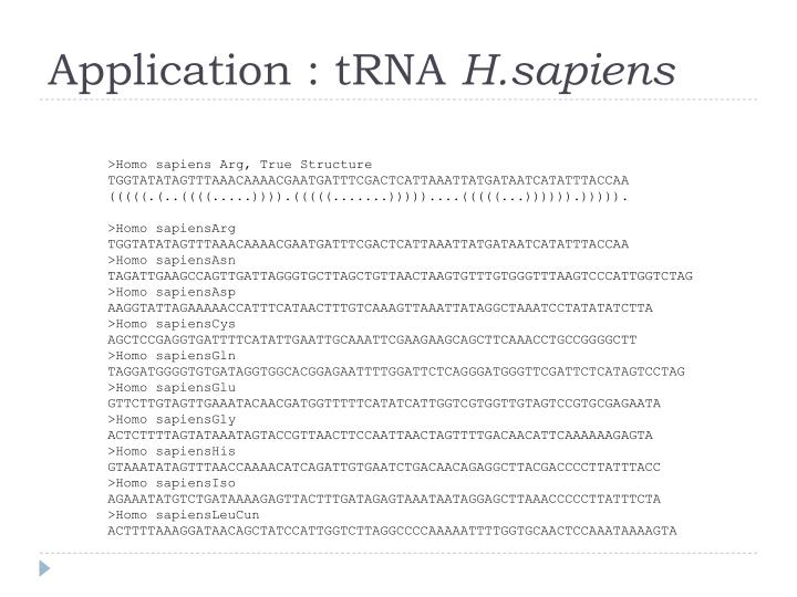 Application : tRNA