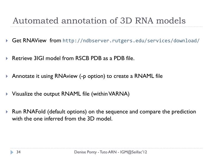 Automated annotation of 3D RNA models