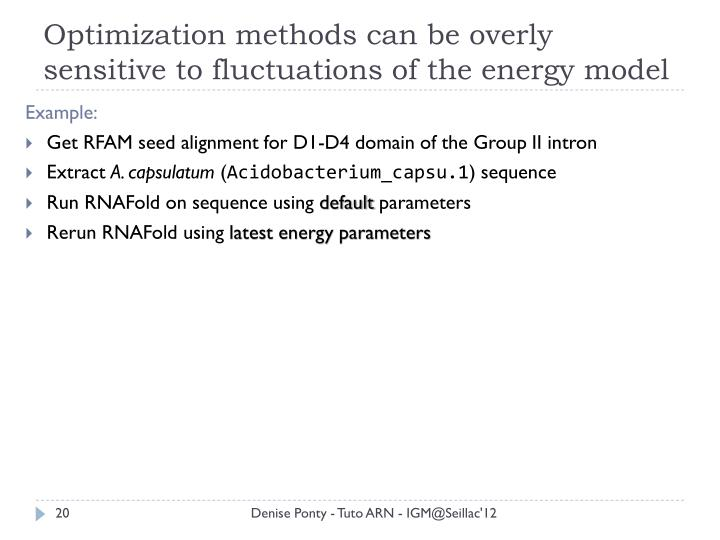 Optimization methods can be overly sensitive to fluctuations of the energy model