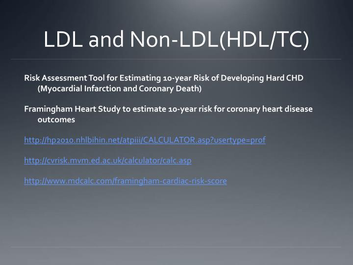 LDL and Non-LDL(HDL/TC)