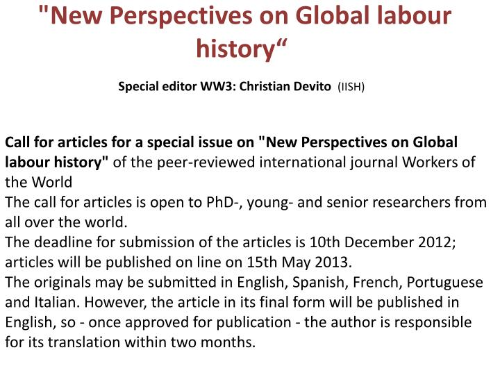 """""""New Perspectives on Global"""