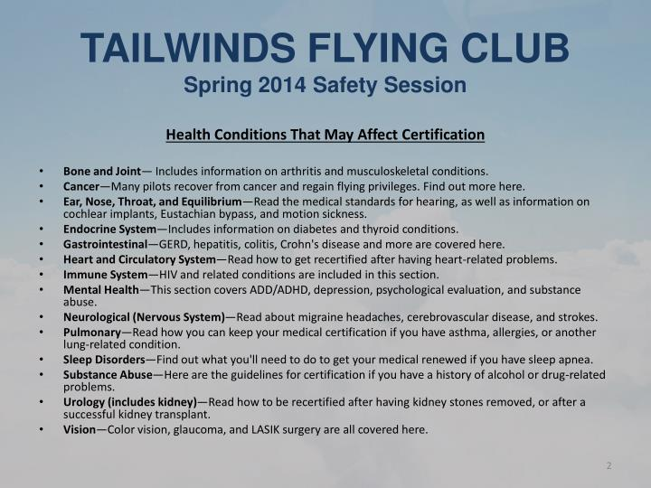 Tailwinds flying club spring 2014 safety session