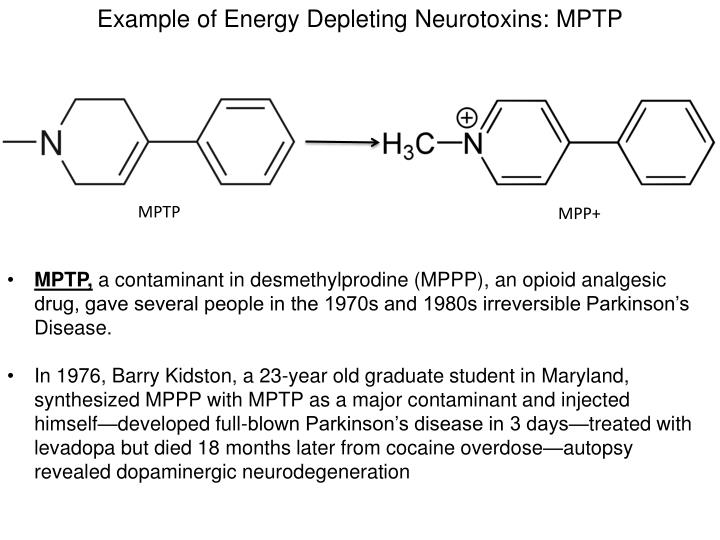 Example of Energy Depleting Neurotoxins: MPTP