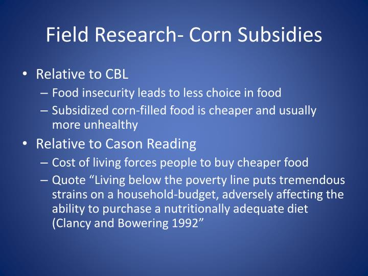 Field Research- Corn Subsidies