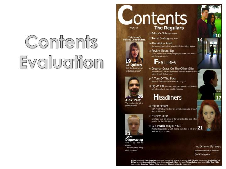 Contents Evaluation