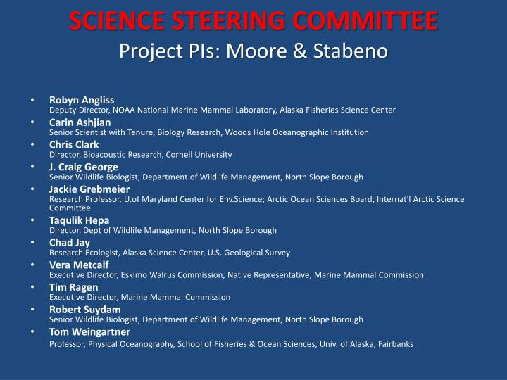 SCIENCE STEERING COMMITTEE