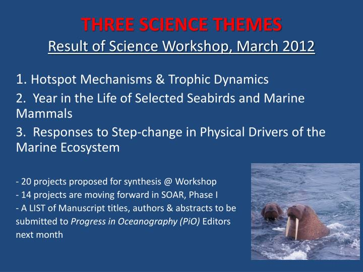 THREE SCIENCE THEMES