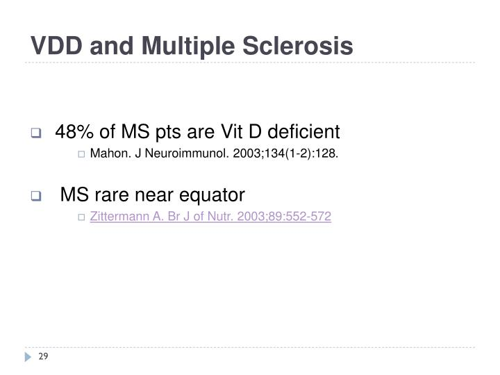 VDD and Multiple Sclerosis