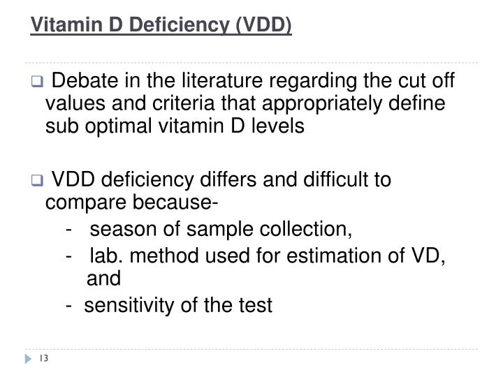 Vitamin D Deficiency (VDD)