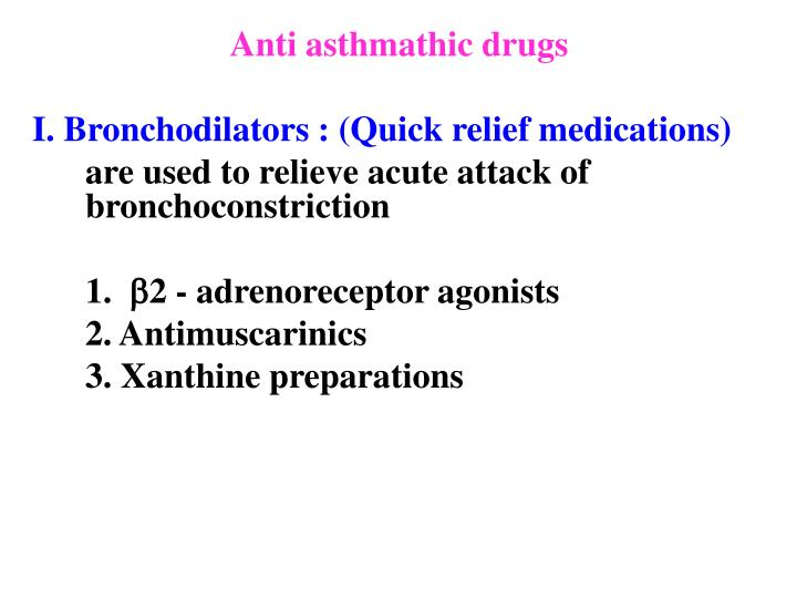 Anti asthmathic drugs