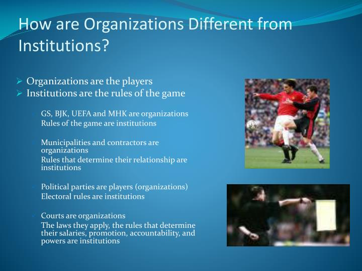 How are Organizations Different from Institutions?