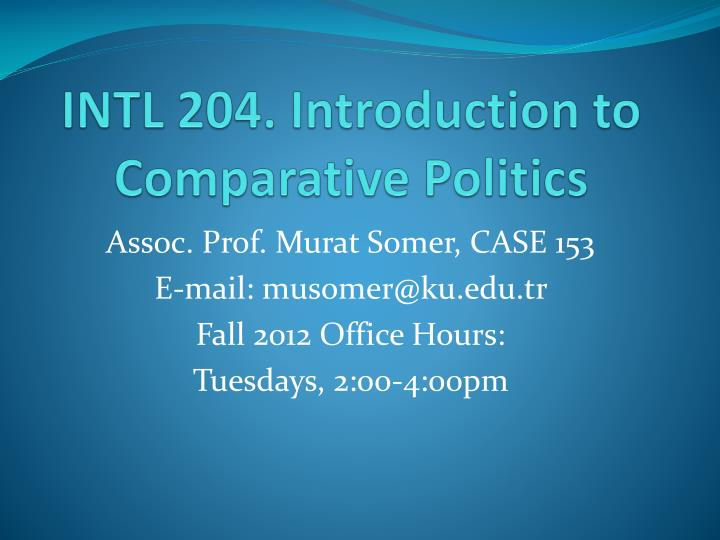 Intl 204 introduction to comparative politics