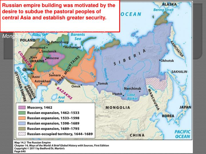Russian empire building was motivated by the desire to subdue the pastoral peoples of central Asia and establish greater security.