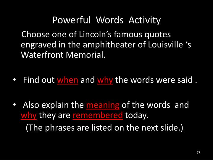 Powerful  Words  Activity