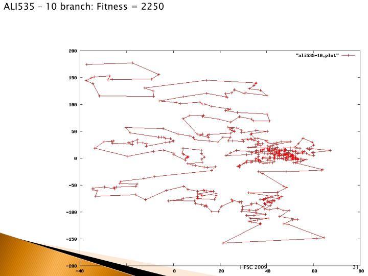 ALI535 – 10 branch: Fitness = 2250