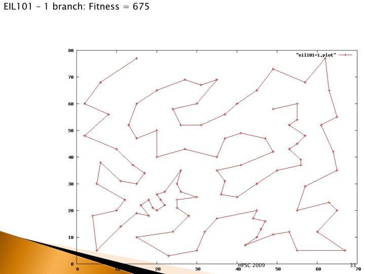 EIL101 – 1 branch: Fitness = 675