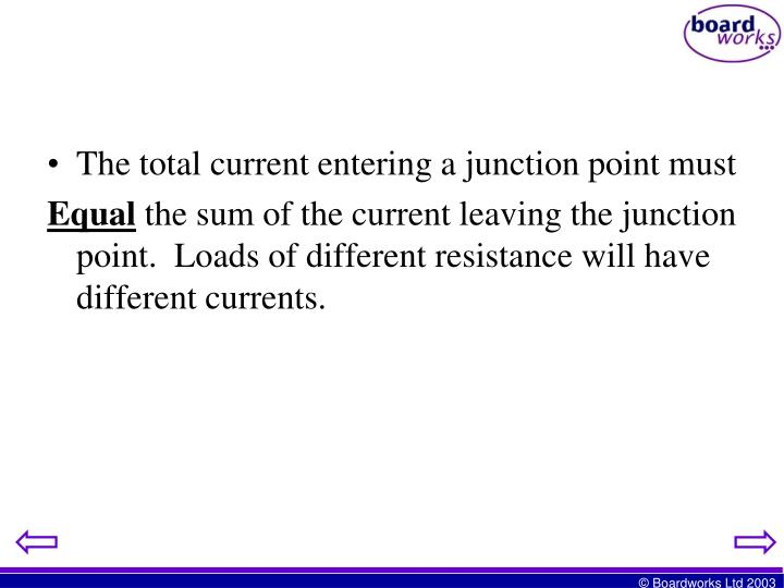 The total current entering a junction point must