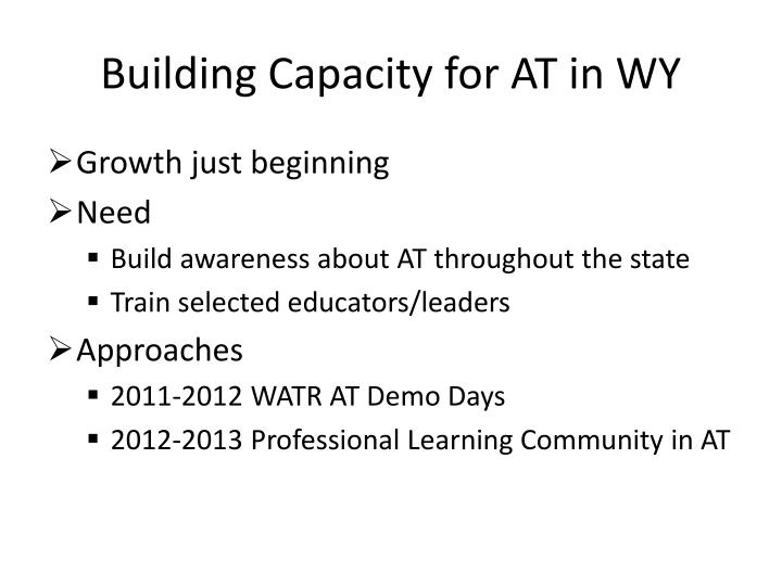 Building Capacity for AT in WY