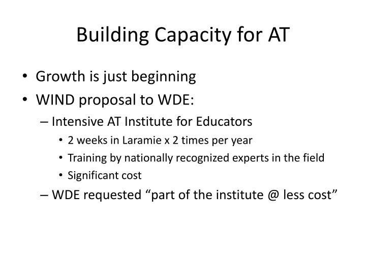 Building Capacity for AT