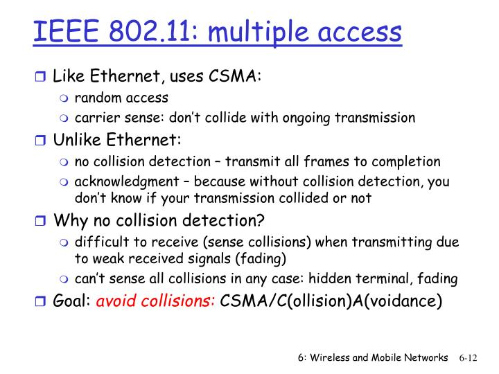 IEEE 802.11: multiple access