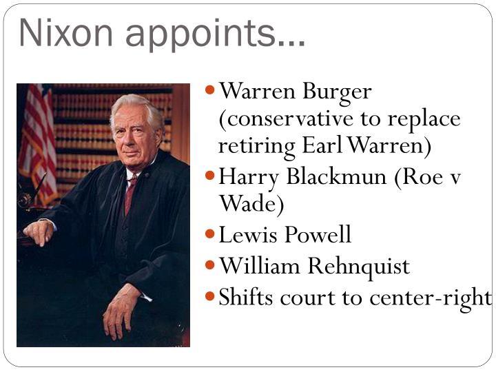 Nixon appoints…