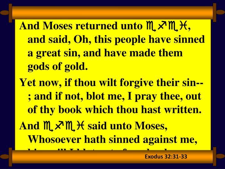 Exodus 32:31-33