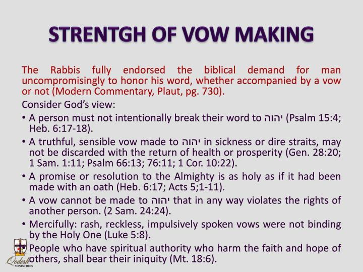 STRENTGH OF VOW MAKING