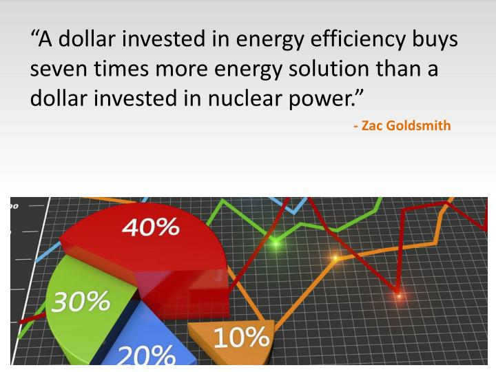 """A dollar invested in energy efficiency buys seven times more energy solution than a dollar invested in nuclear power."""