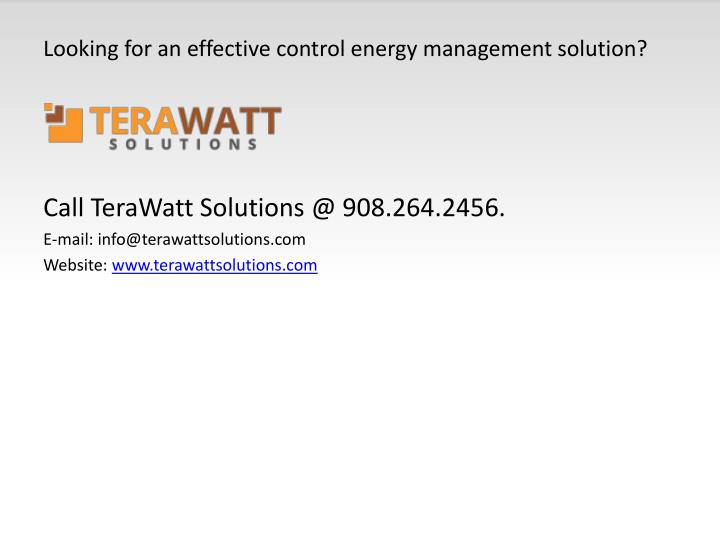 Looking for an effective control energy management solution?