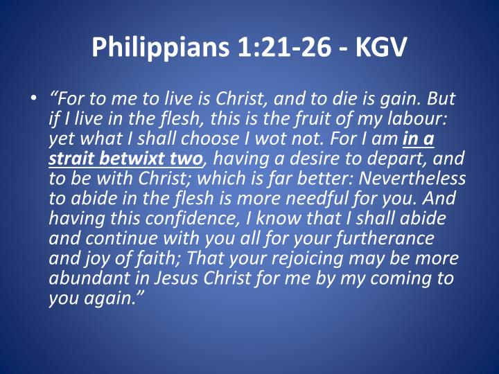 Philippians 1:21-26 - KGV