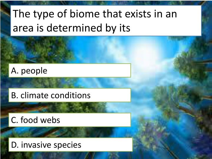 The type of biome that exists in an area is determined by its