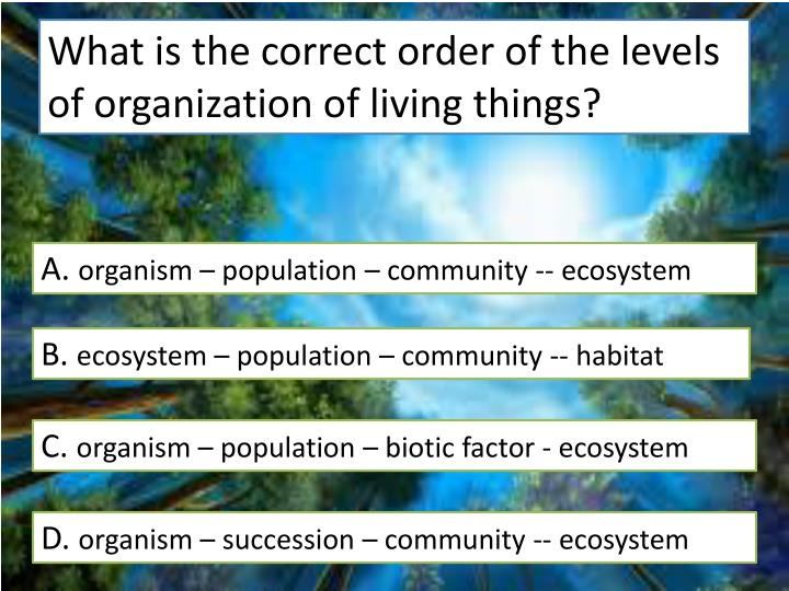 What is the correct order of the levels of organization of living things?