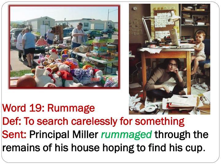 Word 19: Rummage