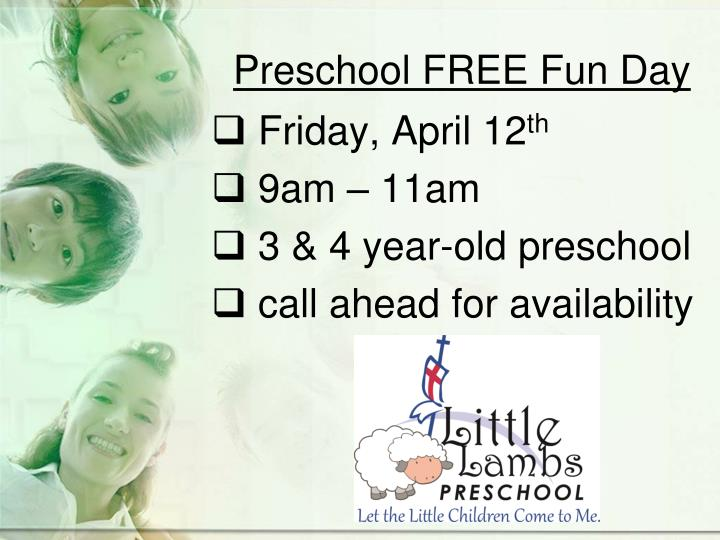 Preschool FREE Fun Day