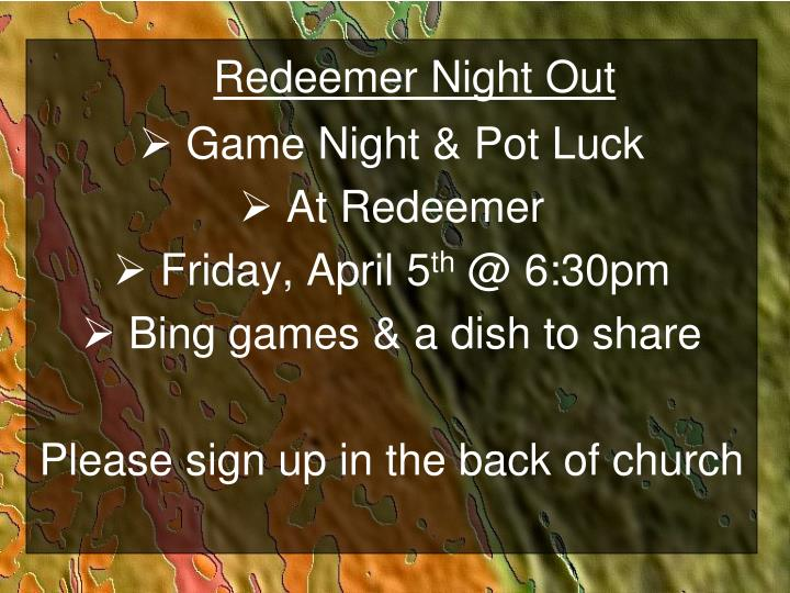 Redeemer Night