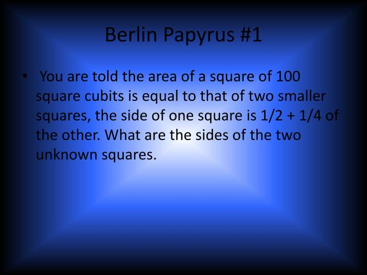 Berlin Papyrus #1