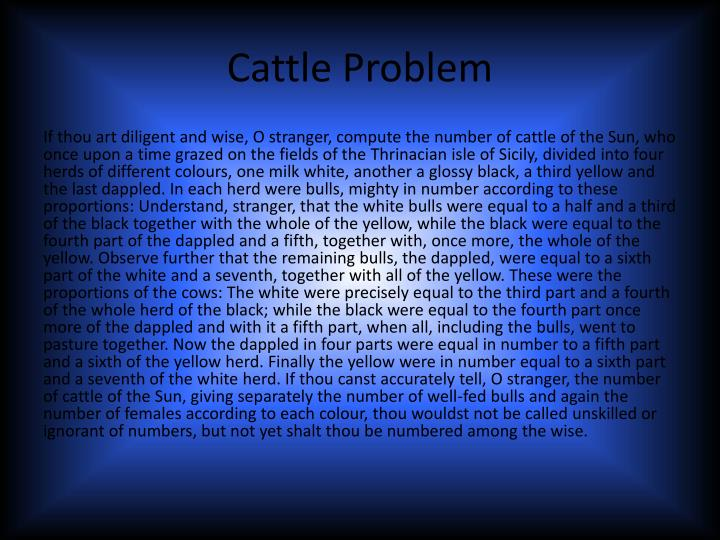 Cattle Proble