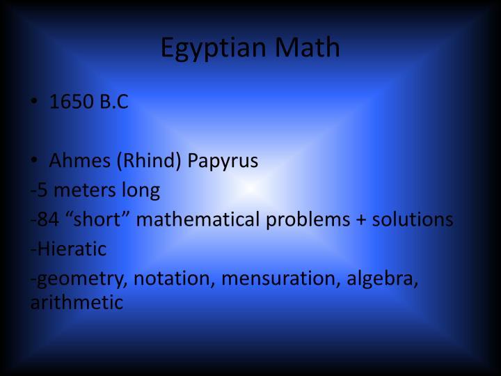 Egyptian Math