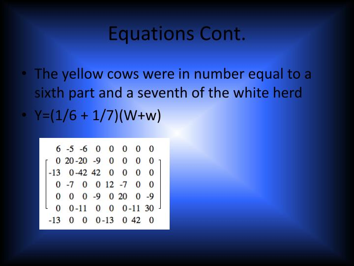Equations Cont
