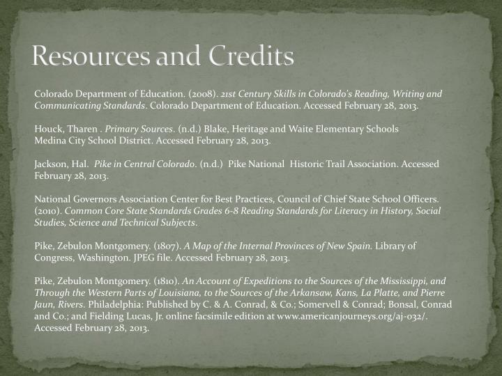 Resources and Credits