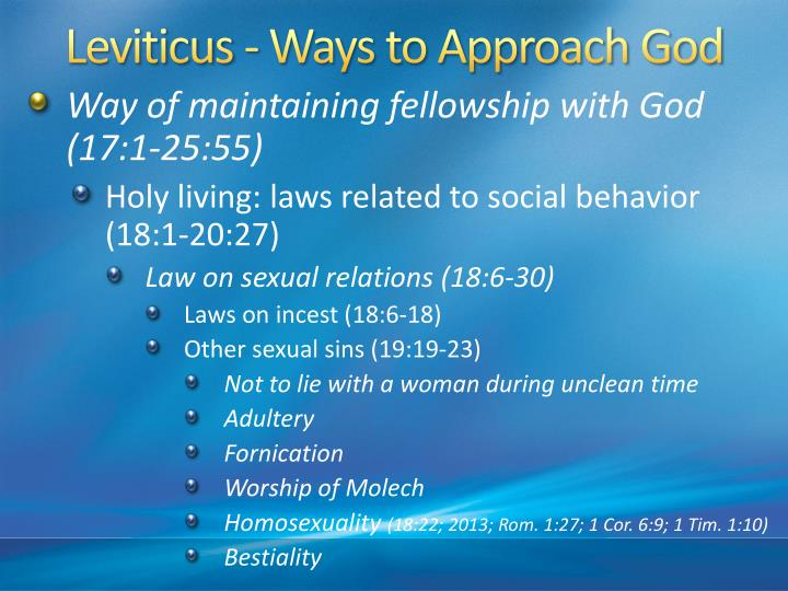 Leviticus - Ways to Approach God
