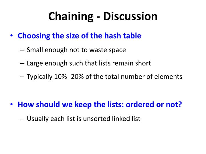 Chaining - Discussion